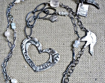 """36""""  personalized fine silver heart and bird necklace"""