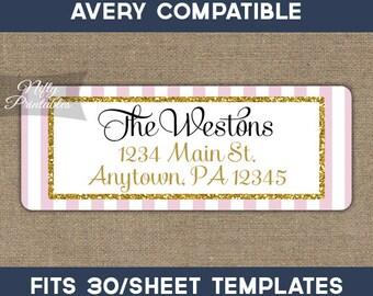 Printable Address Labels - Pink & Gold Glitter Return Address Label - Avery Compatible - DIY Elegant Address - Baby Bridal Shower Decor PGL