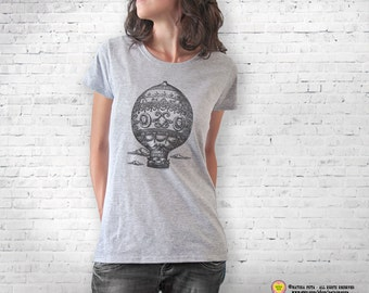 Hot air balloon T-shirt-retro hot air balloon shirt-steampunk t-shirt-hot air balloon top-travel shirt-traveler gift-NATURA PICTA NPTS076
