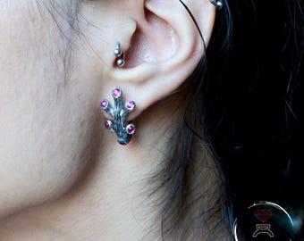 Pendientes de plata coral con gemas, Pendientes novia corales, Regalo Día de la Madre, Joyería del mar, Joyería novia bohemia