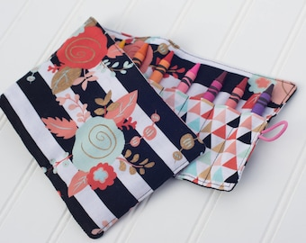 Floral Crayon Roll, Crayon Holder, Crayon Roll, Toddler Gift, Kid Travel, Birthday Party Gift