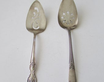 2 Vintage Rogers Pie Cake Server Silver Plate  Silverplate Mary Lou & Magnolia