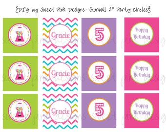 """Printable 2"""" Circles- Gumball Party  Collection"""