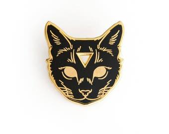 Arcane Cat Enamel Lapel Pin in Black and Gold