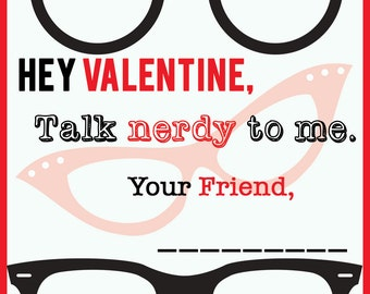 NERDY Valentine Cards Digital File Instant Download
