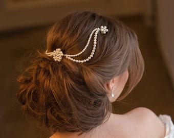 Vintage pearl hair piece, pearl bridal hair comb, wedding headdress, 1920s inspired bridal headband
