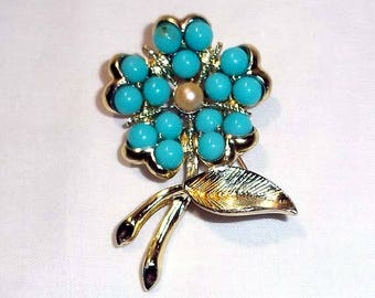 Vintage Sarah Coventry Gold Flower Brooch with Turquoise Colored Stones