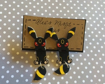 Kawaii Umbreon Clinging Earrings Fake Gauge