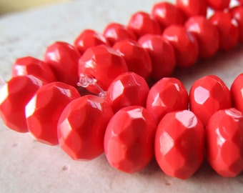 Czech Glass Beads 9 x 5mm Opaque Coral Peach Faceted Rondelles - 12 Pieces
