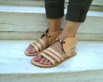 Winged sandals, Hermes sandals, Decorated sandals, Leather sandals, Greek leather sandals, Natural sandals, Womens sandals, Alitheia sandals