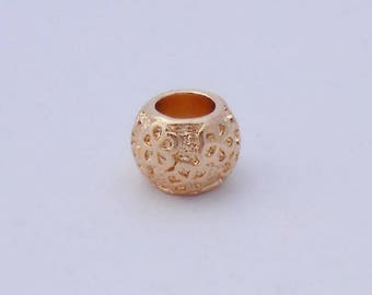 For 10x7mm Charm Bracelet gold pattern round beads
