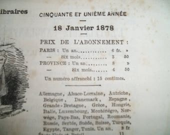 Antique vintage French Newspaper January 18th, 1878. News paper 19th century