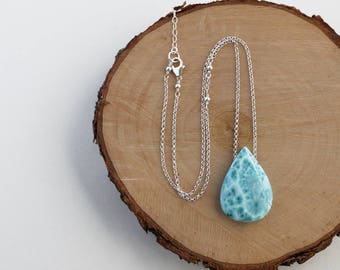Larimar Necklace, Larimar Pendant Necklace, Light Blue Stone Pendant, Larimar Teardrop Necklace, Sterling Silver Chain, Larimar Jewelry