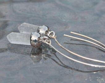 NEW Phantom Crystal Quartz Point Earrings,Genuine Clear Quartz Drop,Gemstone Point,Long Silver Almond Ear Wire,Sterling Silver,Boho,Light