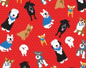 Fabric StudioE Must Love Dogs All you need is love and a dog toss red  new