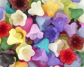 Acrylic Bead 50 Bell Daisy Flower 5-Petal Frosted 15mm x 10mm (1016luc15m2)