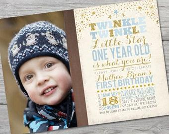 Twinkle Twinkle Little Star Birthday Invitation, PRINTABLE Little Star First Birthday, Twinkle Twinkle Little Star Invitation, ID: BD125903