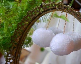 Yarn Pom Pom Earrings in White