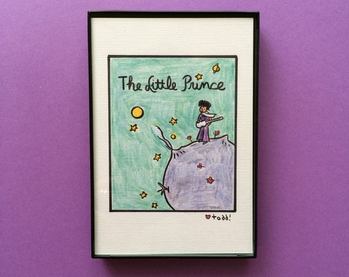 Art, The Little Prince, Prince, Print, mash-up, 4x6 inches, books, music, Antoine De Saint-Exupery, framed artwork, wall decor, Purple Rain