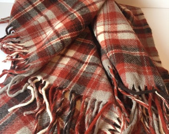 Vintage Pendleton Blanket, Wool Stadium Blanket, Plaid Throw Blanket, 100% Virgin Wool, Rustic Decor, Farmhouse Decor, Travel Lap Blanket