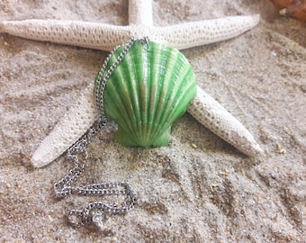 Green Metallic Seashell Necklace- Mermaid Locket, Wedding Accessories, Mermaid Accessories, Seashell Necklace