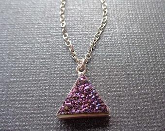 Purple Drusy Triangle Necklace / Mystic Purple Druse Charm / Silver Minimal Necklace / Drusy Triangle Purple/Triangle Necklace Silver/GD11