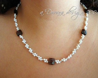 M.A.D.D. About You Woven Custom Necklace - Freshwater Pearls & Genuine Smoky Quartz in Sterling Silver - Handmade by DORANA