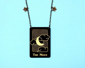Moon tarot card necklace Witch jewellery Fortune telling Tarot card jewellery Mystical necklace Magic necklace Tarot Curiology Gothic