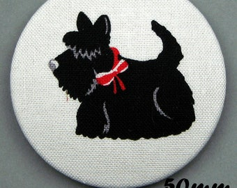 Fabric covered button - dog - Scottish Terrier - Scotties (50-04)