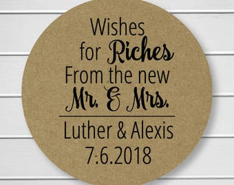 Wishes for Riches From the new Mr. and Mrs. Stickers, Lottery Ticket Wedding Labels, Customizable Wedding Stickers (#214-3-KR)