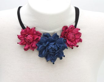 Statement GENUINE LEATHER deep blue & magenta roses bib necklace collar, trendy real leather flower choker, floral rose collar bib necklace