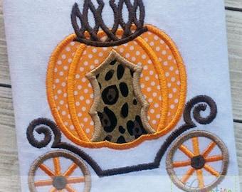 Princess Pumpkin Carriage Applique Machine Embroidery  Design 4 Sizes