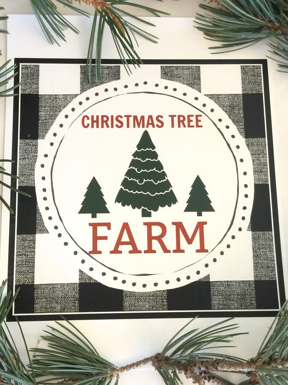 Christmas Tree Farm Black And White Buffalo Plaid Printable - Instant Download