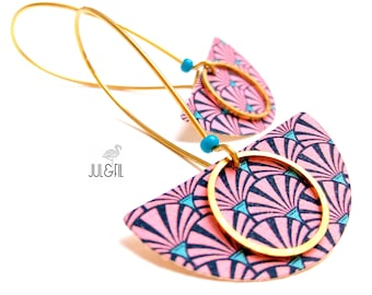 Earrings leather and textile art deco Navy pink swirls
