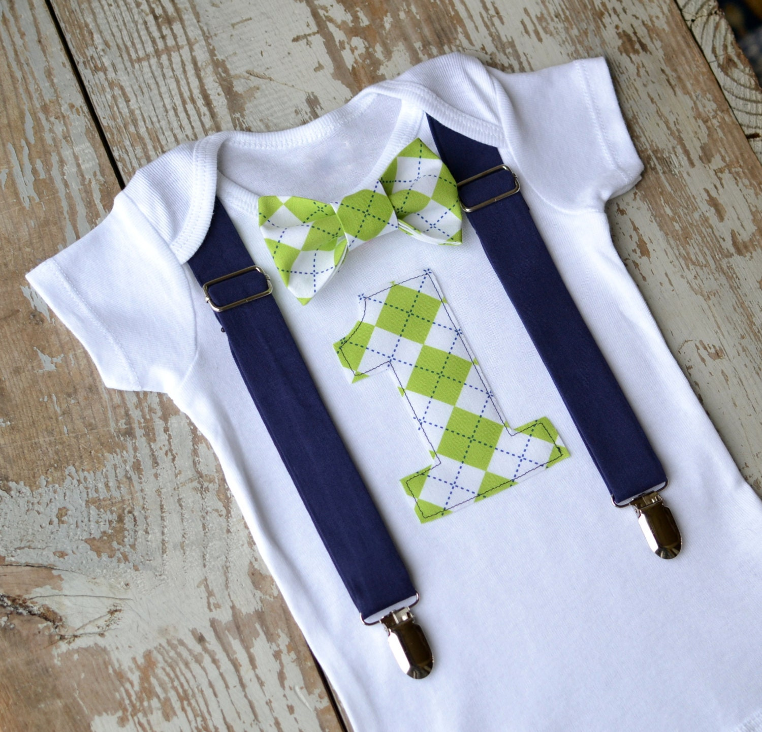 Boys First Birthday Outfit Baby Boy Clothes Navy Blue Lime