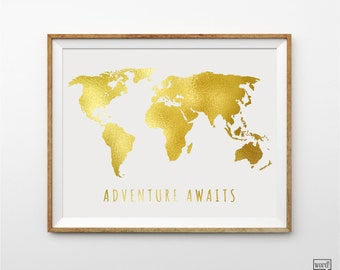 Watercolor map of the world in navy blue indigo teal cobalt matte gold large world map adventure awaits nursery room decor world map print gumiabroncs Image collections