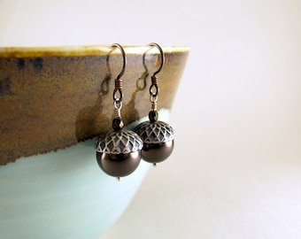 Swarovski Pearl Brown and Silver Acorn Earrings with Free USA Shipping