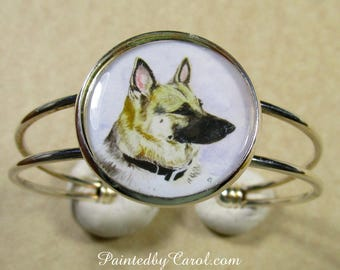 German Shepherd Bracelet, German Shepherd Jewelry, German Shepherd Cuff, Police Dog Bracelet, K9 Bracelet, Police Dog Jewelry, K9 Jewelry