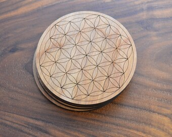 """Flower of Life 3.5"""" or 4"""" Drink Coasters - Sacred Geometry Home Decor by LaserTrees - LT40035"""