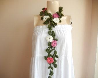 Flower Necklace Scarf-Lariat Scarf-Handmade Long Scarf -Avocado Green Scarf