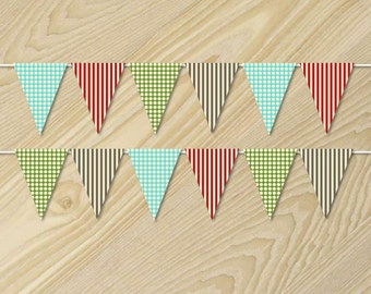 Sock Monkey Birthday - Paper Bunting Banner - Flag Bunting - Custom Pennant Flags