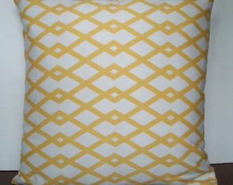 Yellow geometric 18 x 18 inch pillow cover