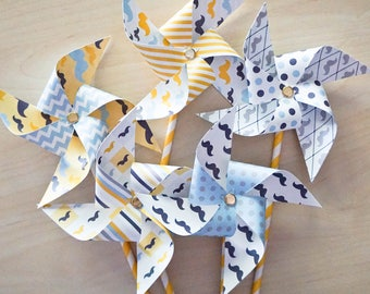 Pinwheels Mustaches, Set of 10 single non spinning with attached straw
