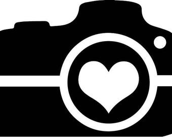 Camera with a heart in the lens svg cut file