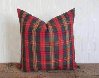 Pillow Cover Red Green Gold Tartan Plaid Zipper Opening