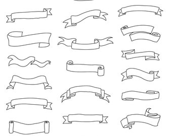 Set of Banners & Scrolls - Art Outlines Full Page 23 Original Hand Drawn Outline Illustrations