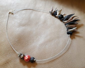 Handmade asymmetrical necklace in real leather and ceramics autumn colors