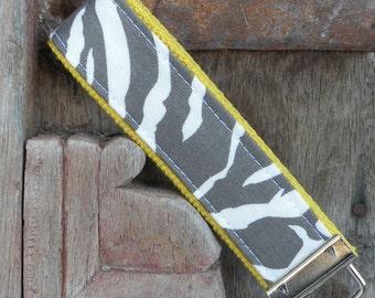 Key Chain-Key Fob-Wristlet-Gray Zebra on Yellow-READY TO SHIP