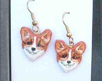 Corgi Sale....Handpainted WELSH CORGI Red/White Small Faces Clay Earrings OOAK