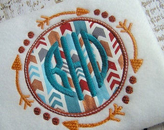 Applique Tribal arrows machine embroidery instant download design, appliqué monogram frame, Embroidery Aztec arrows design